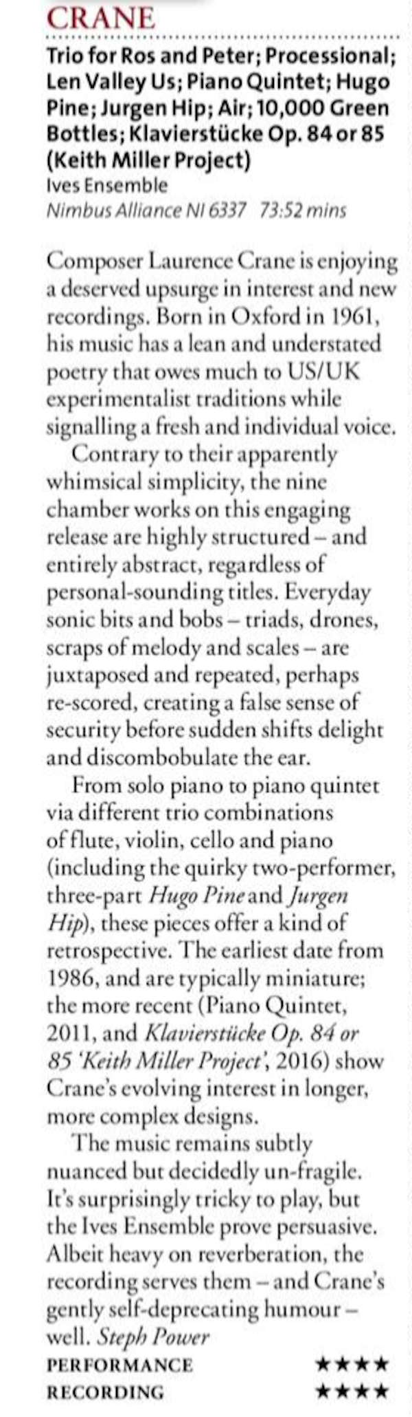 Crane Ives Ensemble cd review BBC Music Magazine